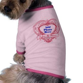 I Love My Parents Photo Red Hearts Dog Tee Shirt