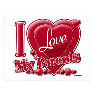 I Love My Parents red - heart Postcard