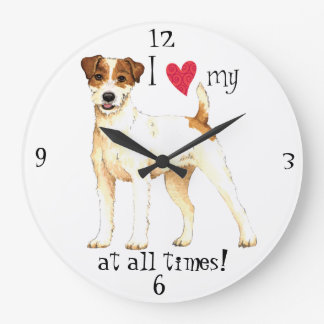 I Love my Parson Russell Terrier Large Clock
