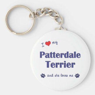 I Love My Patterdale Terrier (Female Dog) Basic Round Button Key Ring