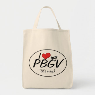 I Love My PBGV (It's a Dog) Grocery Tote Bag