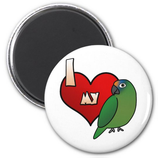 I Love my Peach Front Conure 6 Cm Round Magnet