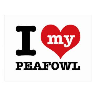 I love my peafowl postcard