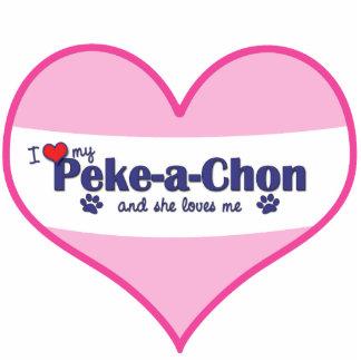 I Love My Peke-a-Chon (Female Dog) Photo Sculpture Decoration