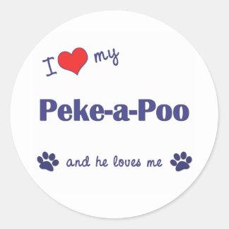 I Love My Peke-a-Poo (Male Dog) Sticker