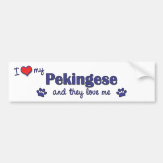 I Love My Pekingese (Multiple Dogs) Bumper Sticker