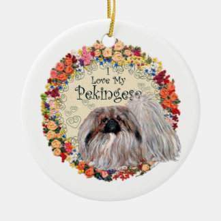 I Love My Pekingese Round Ceramic Decoration