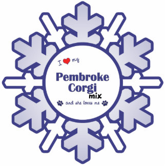 I Love My Pembroke Corgi Mix (Female Dog) Photo Sculpture