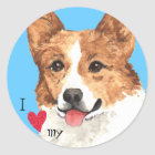 I Love my Pembroke Welsh Corgi Classic Round Sticker