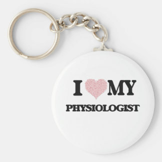I love my Physiologist (Heart Made from Words) Basic Round Button Key Ring