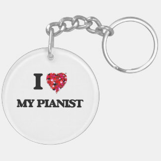 I Love My Pianist Double-Sided Round Acrylic Key Ring