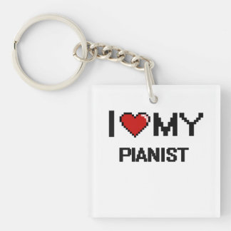 I love my Pianist Single-Sided Square Acrylic Keychain