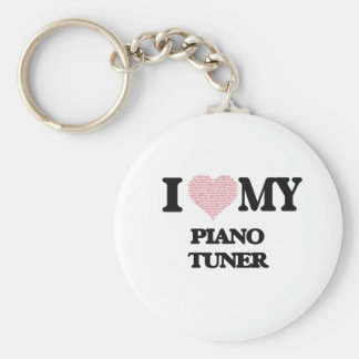 I love my Piano Tuner (Heart Made from Words) Basic Round Button Key Ring