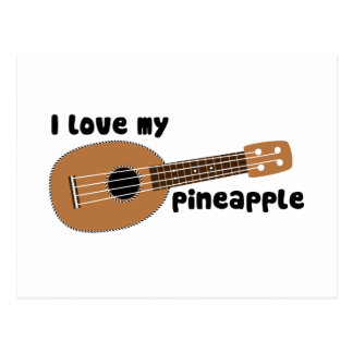 I Love My Pineapple Ukulele Postcard