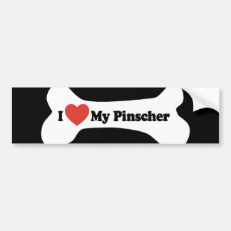 I Love My Pinscher - Dog Bone Bumper Sticker