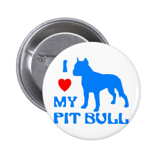 I Love My Pit Bull 6 Cm Round Badge