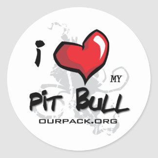 I Love My Pit Bull! Classic Round Sticker