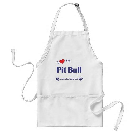 I Love My Pit Bull (Female Dog) Aprons