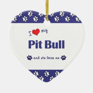 I Love My Pit Bull (Female Dog) Ceramic Heart Decoration