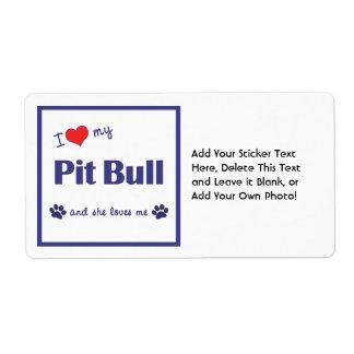 I Love My Pit Bull (Female Dog) Shipping Label