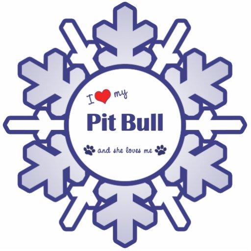 I Love My Pit Bull (Female Dog) Photo Cut Outs
