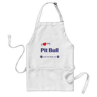 I Love My Pit Bull (Female Dog) Standard Apron