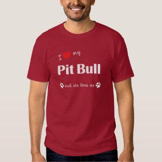 I Love My Pit Bull (Female Dog) Tshirt
