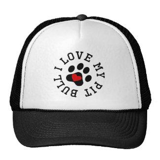 I Love My Pit Bull Hats