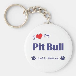 I Love My Pit Bull (Male Dog) Basic Round Button Key Ring