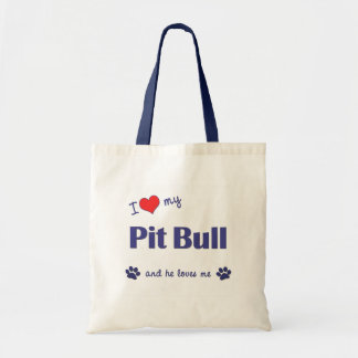 I Love My Pit Bull (Male Dog) Budget Tote Bag