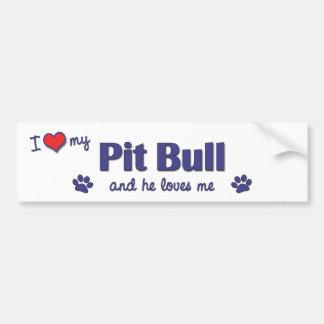 I Love My Pit Bull (Male Dog) Car Bumper Sticker