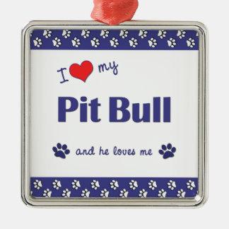I Love My Pit Bull (Male Dog) Silver-Colored Square Decoration