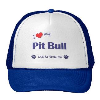 I Love My Pit Bull (Male Dog) Mesh Hats
