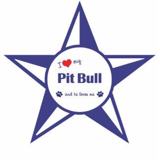 I Love My Pit Bull (Male Dog) Photo Sculpture Decoration