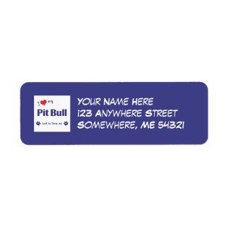 I Love My Pit Bull (Male Dog) Return Address Label