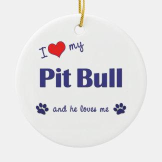 I Love My Pit Bull (Male Dog) Round Ceramic Decoration