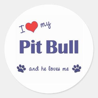 I Love My Pit Bull (Male Dog) Round Sticker