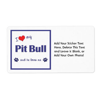 I Love My Pit Bull (Male Dog) Shipping Label