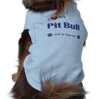 I Love My Pit Bull (Male Dog) Sleeveless Dog Shirt