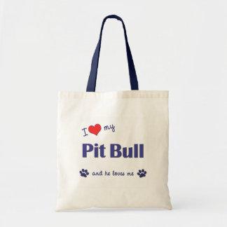 I Love My Pit Bull (Male Dog) Budget Tote Bag