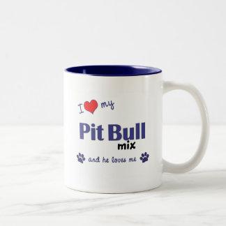 I Love My Pit Bull Mix (Male Dog) Coffee Mug