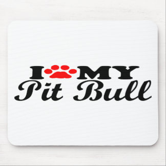 I Love My Pit Bull Mouse Pads