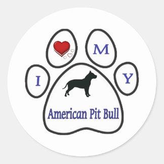 I Love My Pit Bull Paw Print Design Round Sticker