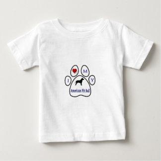 I Love My Pit Bull Paw Print Design T-shirts