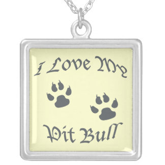 I love my Pit Bull Square Pendant Necklace