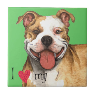 I Love my Pit Bull Terrier Small Square Tile