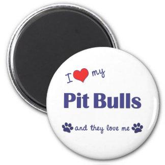 I Love My Pit Bulls (Multiple Dogs) 6 Cm Round Magnet