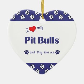 I Love My Pit Bulls (Multiple Dogs) Ceramic Heart Decoration
