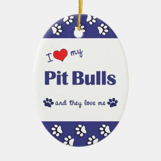 I Love My Pit Bulls (Multiple Dogs) Ceramic Oval Decoration