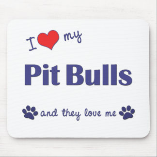 I Love My Pit Bulls Multiple Dogs Mouse Mats